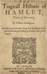 Second Quarto cover page of Hamlet