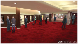 Architect's rendering of the lower lobby interior.