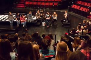 The cast of Hamlet discusses the play with students.
