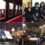 In addition to creating the exhibit, Hartford Stage hosted several community programs to celebrate Having Their Say. Upper Right: Fiona Kyle hosted a discussion at the Harriet Beecher Stowe House with Having Our Say actresses Brenda Pressley and Olivia Cole and director Jade King Carroll. Lower Left: Simone Shorter and Sistah Nandi record their interview session. Lower Right: A viewing of the documentary short created for Having Their Say was held at Christ Cathedral Church for participants and invited guests; over 100 were in attendance.