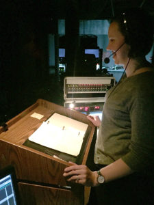 Samantha Flint in the Stage Manager's Booth