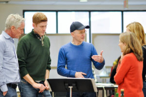 L-R: Actor Richard Bekins, Playwright Samuel Baum, Director Darko Tresnjak and actors Mia Dillon and Beth Riesgraf in rehearsal. Photo by Liss Couch-Edwards.