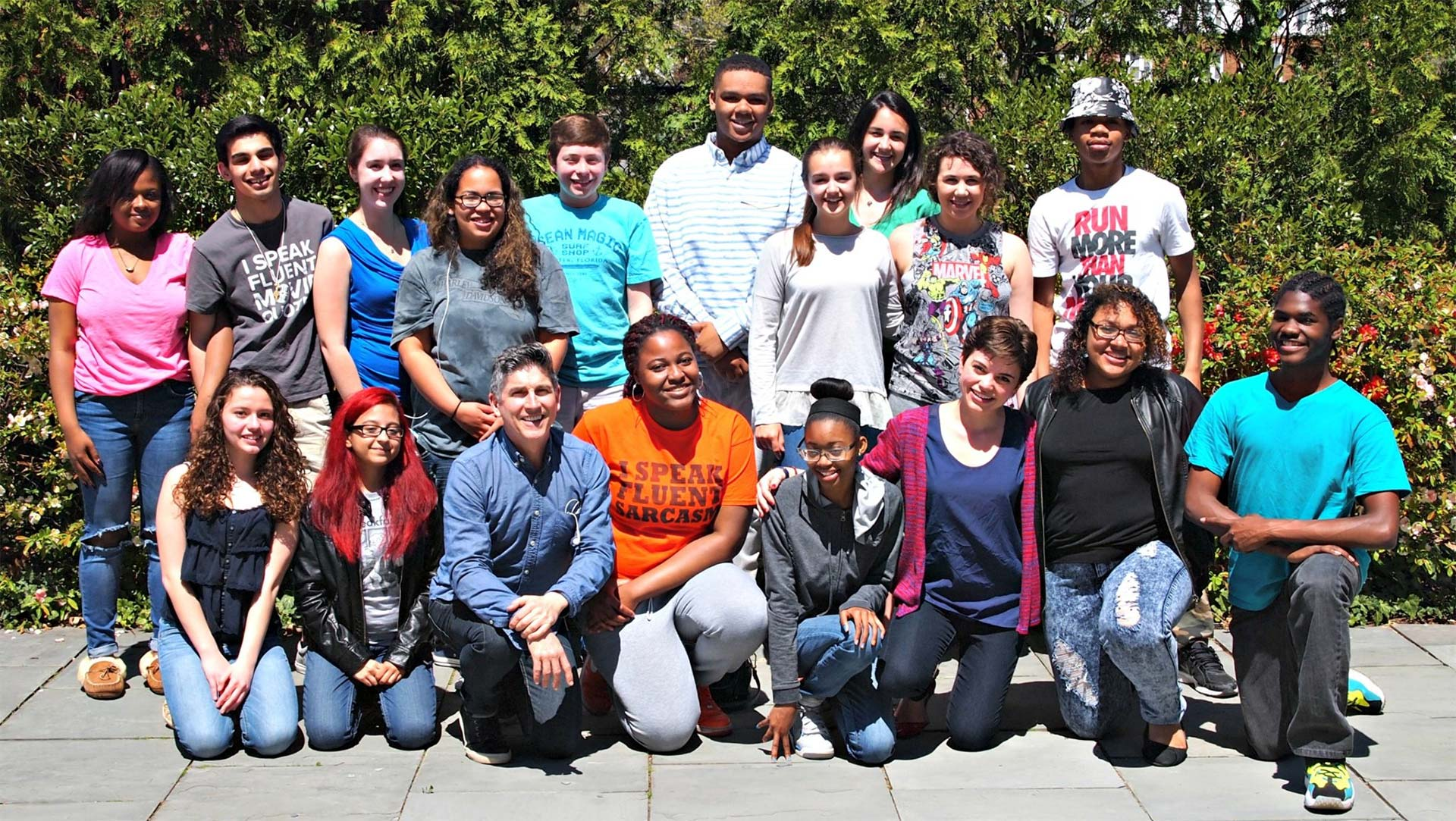 Project: Transform students with Playwright/Actor James Lecesne (front row, 3rd from left) and teaching artist Natalie Pertz (front row, 3rd from right)